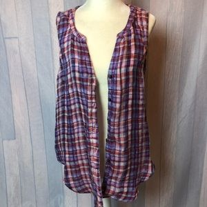 Lucky Brand Sleeveless Button Up Plaid Blouse NWT